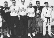 Diretoria que organizou o I Mundial de Jiu-Jitsu - Carlson Gracie, Leāo Teixeira, Carlos Gracie JR, Oswaldo Alves, Romero Cavalcanti e Royler Gracie